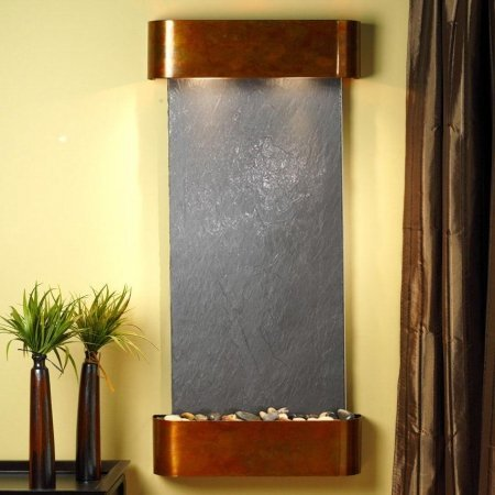 Adagio Cascade Springs Wall Fountain Black FeatherStone Rustic Copper - CSR1011