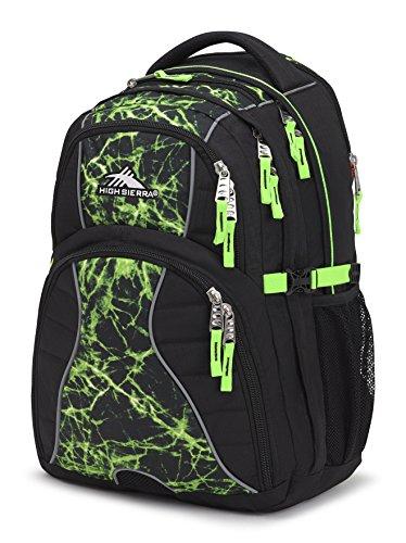High Sierra Swerve Laptop Backpack, Black/Lime Fire/Lime