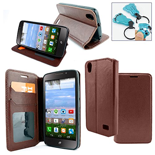 HTC Desire 626 / 626s Case - Customerfirst Credit Card Wallet Style Case Flip Style Cover for HTC Desire 626 / 626s - Includes Key Chain (Leather Brown)