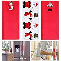 Tinksky 3PCS Christmas Refrigerator Door Handle Covers Microwave Oven Dishwasher Kitchen Appliances Protective And Decorative Gloves Smudges Fingertips Food Stains Door Cloth Protector Christmas Gift