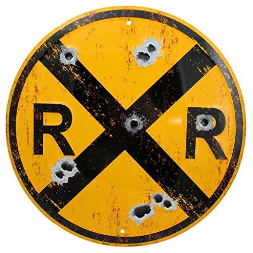 Vintage Railroad Crossing Sign, Distressed 12 Inch Round Metal RR XING Room Wall Décor, Railfan, Train Lover and Enthusiast Gifts (Metal Boy Signs)