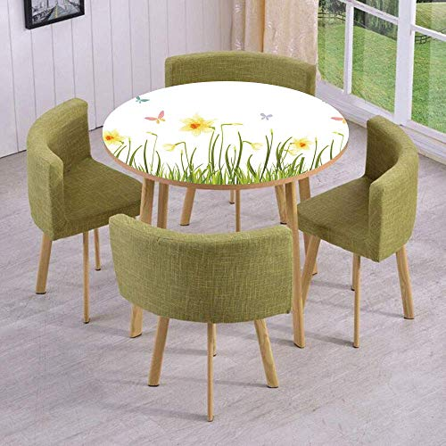 SINOVAL Fashion Round Table/Wall/Floor Decal Strikers/Removable/Daffodil Field with Butterflies in Meadow Grass Springtime Park Easter Illustration -