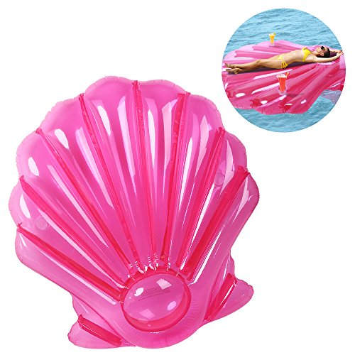 """Inflatable Shell Pool Float Raft Letsfunny Large Outdoor Swimming Pool Inflatable Float Toy Floatie Lounge Toy for Adults & Kids,60"""" x 52"""""""