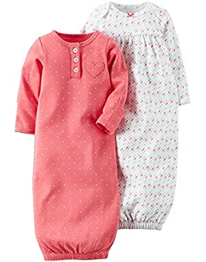 Baby Girls' 2 Pack Sleeper Gowns (Baby)