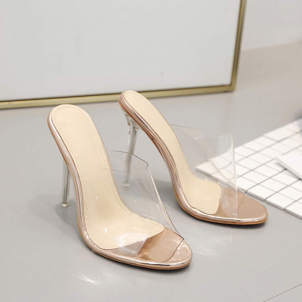 Women Girls Summer Transparent Slides Sandals Ladies Platform Stiletto High Heels Fish Mouth Slippers