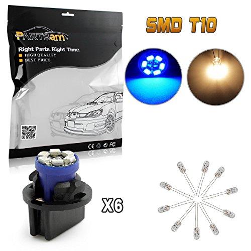 (Partsam 6 PC168 PC194 Gauge Cluster Instrument Panel LED Light Dashboard Indicator Bulb Lamp with Twist Lock Base Socket, Pack of 6, Blue)