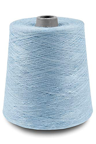 (Linen Yarn Cone - 100% Flax Linen - 1 LBS - Light Sky Blue - 3 PLY - Sewing Weaving Crochet Embroidery - 3.000 Yard)