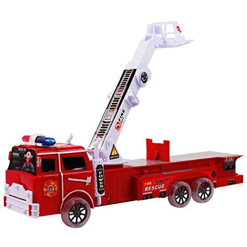 new light up fire engine rescue truck with firefighter. Black Bedroom Furniture Sets. Home Design Ideas