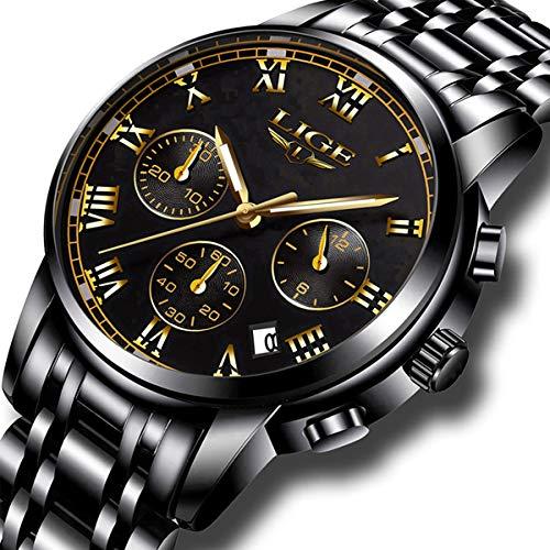 - Mens Watches Sports Analog Quartz Watch Gents Fashion Business Full Steel Waterproof Chronograph Watch Man LIGE Date Calendar Gold Wristwatch Black
