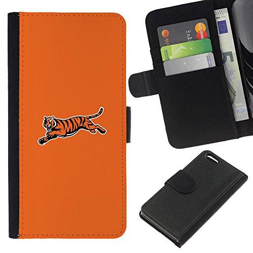 Funny Phone Case // Cuir Portefeuille Housse de protection Étui Leather Wallet Protective Case pour Apple Iphone 5C /Minimaliste Tiger/