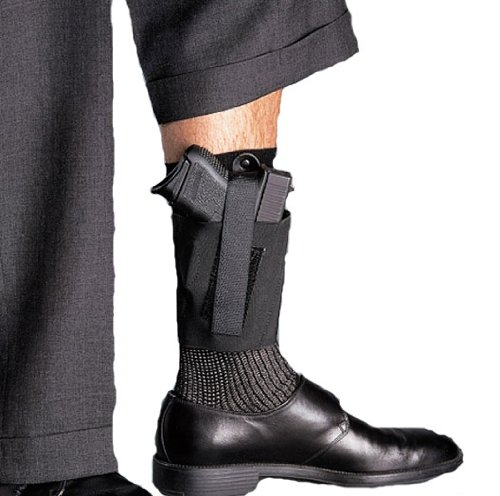 (Galco Cop Ankle Band for Ruger LCP, Kel Tec P3AT, P32, Sig Sauer P238, NAA Guardian (Black, Right-Hand))