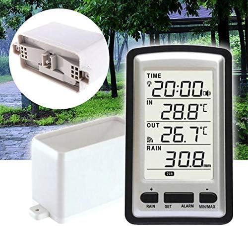 No logo Pl/ástico Digital port/átil de Interior Temperatura Exterior Tiempo Instrumento de medici/ón sin Cables Herramienta Moda Pluvi/ómetro pr/áctica
