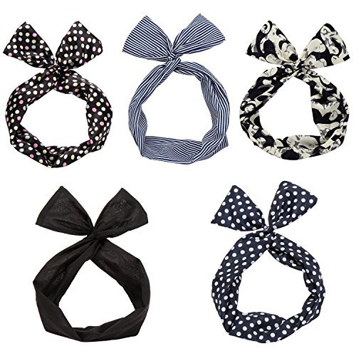 (Twist Bow Wired Headbands Scarf Wrap Hair Accessory Hairband by Sea Team(5 Packs))