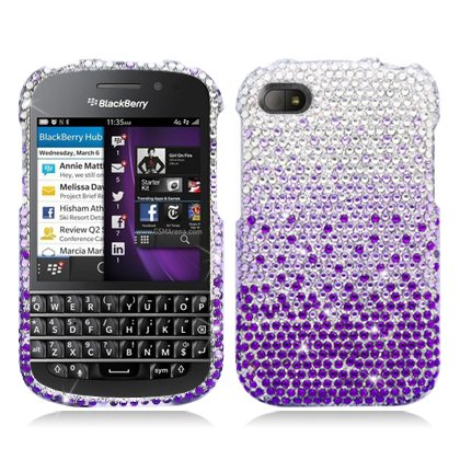 Aimo Wireless BBQ10PCDI174 Bling Brilliance Premium Grade Diamond Case for BlackBerry Q10 - Retail Packaging - Purple Waterfall