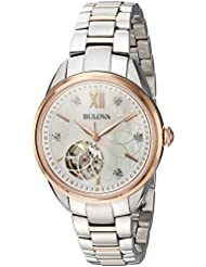 Bulova Womens Automatic Stainless Steel Casual Watch, Color Two Tone (Model: 98P170)