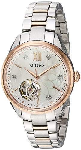 Bulova Women's Automatic Stainless Steel Casual Watch, Color Two Tone (Model: 98P170)