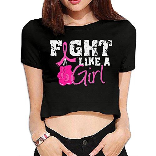 Women Fight Like A Girl Breast Cancer Boxing Gloves Bare Midriff Black Funny T Shirt Medium