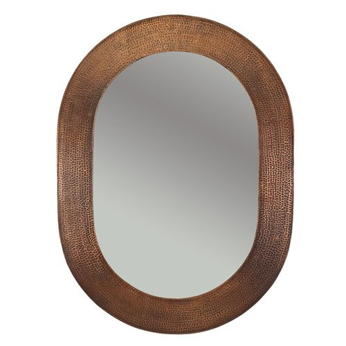 35 H x 26 W Hand Hammered Oval Copper Mirror, Wall, Oval, Tr