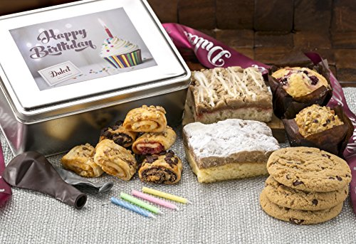 Dulcet Happy Birthday Gift Basket- Includes Traditional and Raspberry Crumb Cake, Mini Muffins,Chocolate Chip Cookies, Assorted From Our Best Rugelach, Birthday Candles and Birthday Balloons! (Mini Muffin Basket)