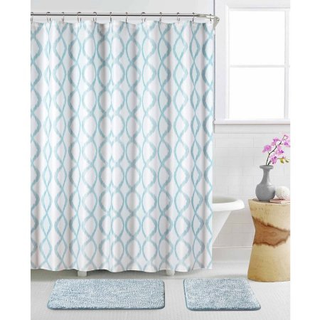 Shower Curtain 15-Pieces Features Teal And White Geometric (Mercer Toilet Bowl)