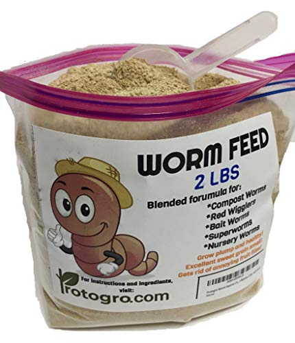 (Red Wiggler, Night Crawler, Bait and Compost Worm Food with Scoop by Protogro, 2 Lbs)