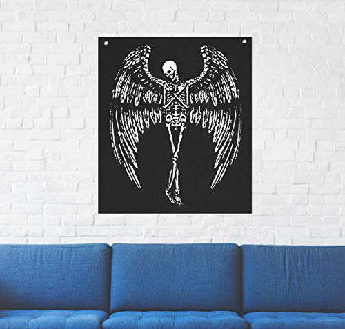 Winged Skeleton Wall Tapestry - Voodoo Goat Skull Sigil of Lucifer Pentagram Dragon Demon Evil Mendes Goat's Head Gothic Metal Occult Punk Satan Satanic Death Wicca Baphomet Leviathan Cross Inverted (Noir Tapestry)