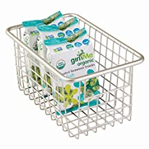 InterDesign Forma Household Wire Storage Basket with Handles for Kitchen Cabinets, Pantry, Bathroom, Satin