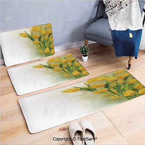 (3 Piece Flannel Bath Carpet Non Slip Romantic Tulip Bouquet Famous Plant of Netherlands Botanical Theme Decorative Front Door Mats Rugs for Home(W15.7xL23.6 by W19.6xL31.5 by W31.4xL47.2))