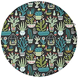 NiYoung Round Chair Pad Removable Memory Foam Seat Cushion for Relieving Back/Sciatica/Tailbone Pain, Succulents Cacti Terrarium Cactus Stool Pad for Home Dormitory Office Bar