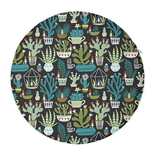 Premium Seat Cushion for Kitchen Dining Chairs, Memory Foam Chair Cushion Pad with Washable Polyester Cover Soft Round Chair Seat Cushion Pads 16 Inch - Gnomes Succulents Cacti Terrarium Cactus