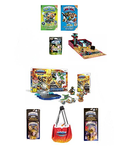 NEW! SKYLANDER (8pc) BUNDLE DEAL: SUPERCHARGERS RACING STARTER PACK, GARAGE STORAGE CASE, 2 FUN PACKS, MYSTERY CHEST, 2 GUIDE BOOKS W/ POSTER (Nintendo Wii) by best bargins