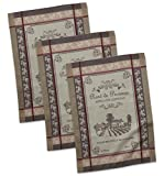 "DII Cotton French Jacquard Dish Towels, 20x28"" Set of 3, Decorative Tea Towels for Everyday Kitchen Cooking and Baking-Rose De Provence"