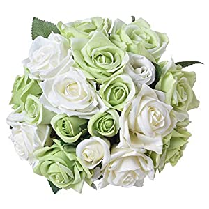 Furnily Artificial Flowers 2 Bouquets 18 Heads Silk Fake Rose Flowers Bridal Bouquets for Wedding Party Home Decoration(White with Green) 117