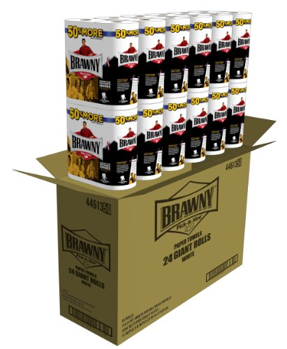 Brawny Giant Roll Paper Towel, Pick-A-Size, White, 24 Count