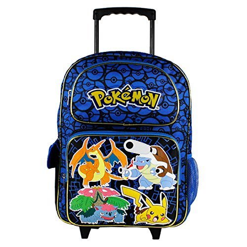 "Nintendo Pokemon Pikachu 16"" Blue And Black School Rolling Backpack 8"