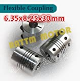 3Pcs 6.35x8mm Flexible Couplers CNC Motor Jaw Shaft 6.35mm To 8mm Couplings D25L30