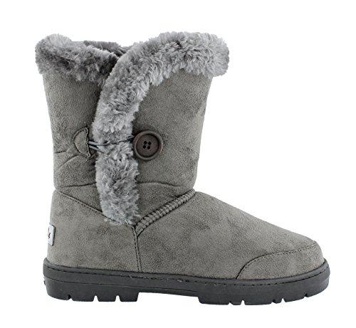 Women's Ella Nina Faux Sheepskin Look Fur Lined Low Warm Boots Grey