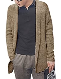 uxcell® Men Long Sleeves Shawl Collar Open Front Cardigan