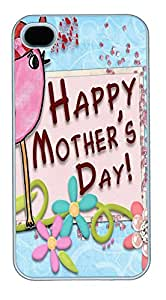 iPhone 4 4s Cases & Covers - Pink Happy Mothers Day Custom PC Soft Case Cover Protector for iPhone 4 4s - White