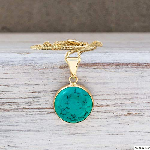 14K Gold Turquoise Necklace - 14K Solid Yellow Gold Dainty Pendant with December Birthstone, Simple 12mm Large Size Round Turquoise Gemstone - Delicate Handmade Jewelry Gift for Classy Women