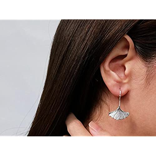 Sovats Ginkgo Leaf Earring For Women 925 Sterling Silver Rhodium Plated - Simple, Stylish Dangle Earring&Trendy Nickel Free Earring
