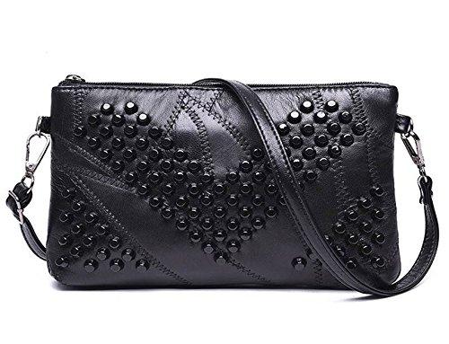 2017 Genuine Leather Women Bag Rivet Crossbody Bag Women's Clutch Patchwork Messenger Bag Females Purse Bolsas Feminina