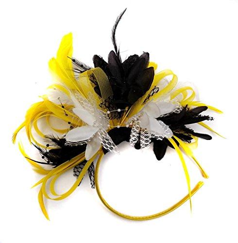Jaune, Noir, blanc et cheveux bibi avec plume pour mariage Royal Ascot et de courses pour femme