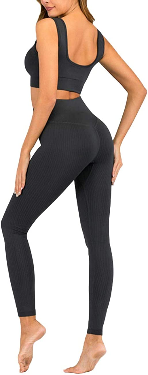 Leggings Sportwear Yoga Outfits Trainingsanzug Reooly Damen Workout Set 2 Teile Fitness Weste Kurzarmoberteil Ribbed Stretchy Sportanzug Top