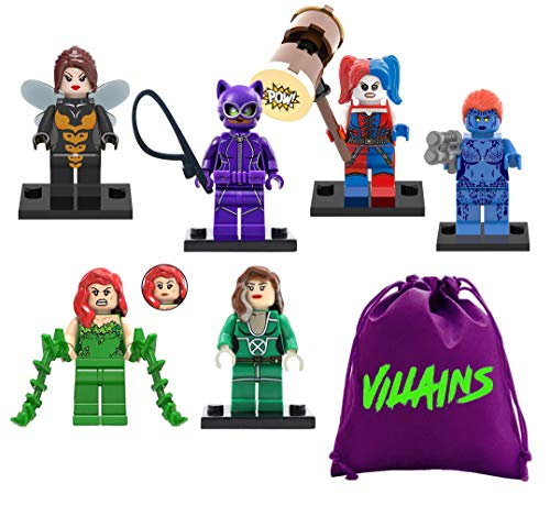 fat cat sales Superhero / Super Villain Girls - Mini Building Block Action Figures - Comes in Nylon Bag for Quick CLEANUP - Try EXCHANGING Interlocking Block Pieces Around for New Looks ()