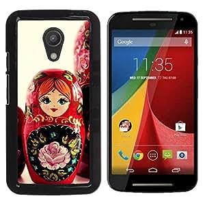 Qstar Arte & diseño plástico duro Fundas Cover Cubre Hard Case Cover para Motorola MOTO G 2ND GEN II ( Matryoshka Doll Russian Art Native Red Girl)