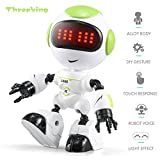 Threeking DIY Robot Toys Touch Sensing Cute Robot for Kids Smart Mini Alloy Robot With Charming LED Eye & Cute Robot Voice Kid's Companion Great Gift for Boys Girls(R8-Green)