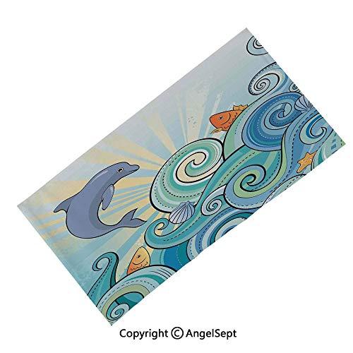 AngelScarf Seamless Bandanas Face Mask Headband Sports,Digital Made Geometric Low Polygonal Unicornfish Figures Marine Life Artsy Decor Teal,Multifunctional Scarf Headwrap Neck Warmer A Low Vera Mask