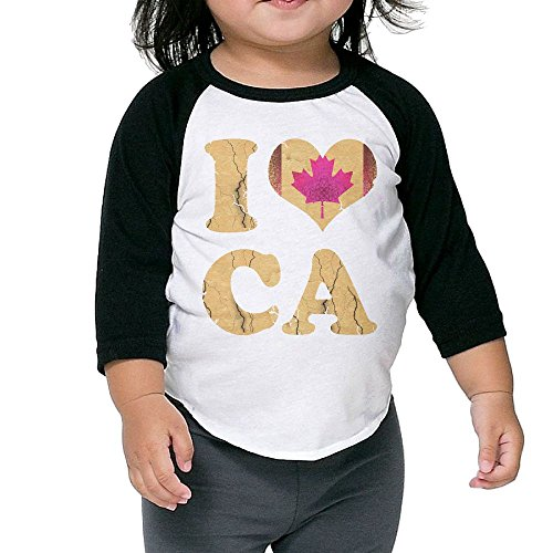 Children Kids I Heart Canada Flag Canadian Toddler Raglan T Shirts Baseball 3/4 Sleeves Jersey Shirt Baby Tee 5-6 - Sunglasses Heart Canada