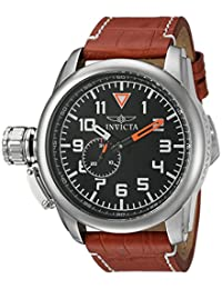 Invicta Men's 'Aviator' Quartz Stainless Steel and Leather Casual Watch, Color:Brown (Model: 20460)